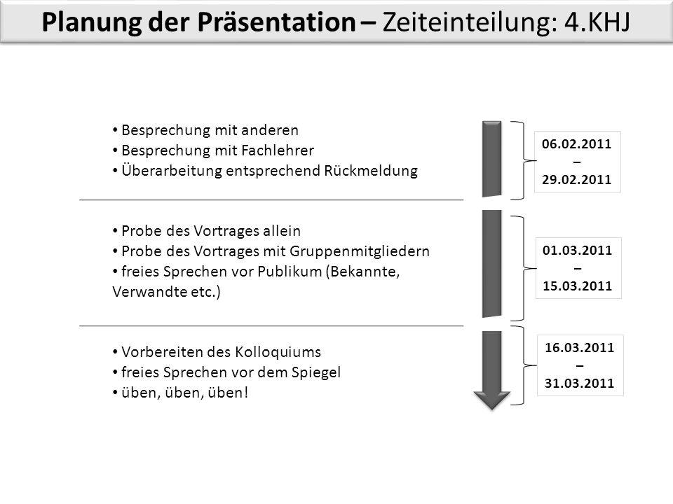Planung der Präsentation – Zeiteinteilung: 4.KHJ Besprechung mit anderen Besprechung mit Fachlehrer Überarbeitung entsprechend Rückmeldung Probe des V