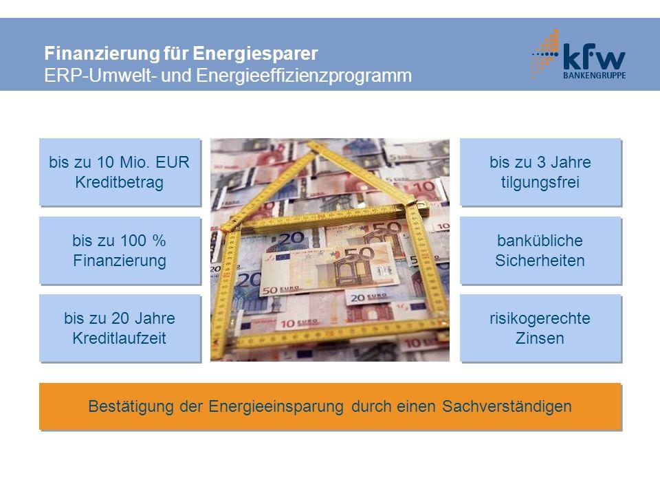 Finanzierung für Energiesparer ERP-Umwelt- und Energieeffizienzprogramm bis zu 100 % Finanzierung bis zu 100 % Finanzierung bis zu 3 Jahre tilgungsfre