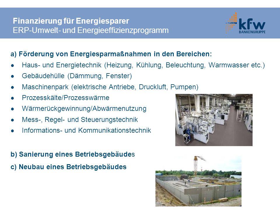 a) Förderung von Energiesparmaßnahmen in den Bereichen: Haus- und Energietechnik (Heizung, Kühlung, Beleuchtung, Warmwasser etc.) Gebäudehülle (Dämmun