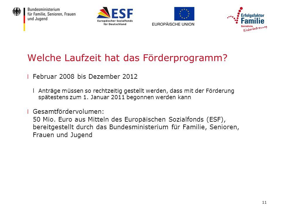 11 Welche Laufzeit hat das Förderprogramm? l Februar 2008 bis Dezember 2012 lAnträge müssen so rechtzeitig gestellt werden, dass mit der Förderung spä