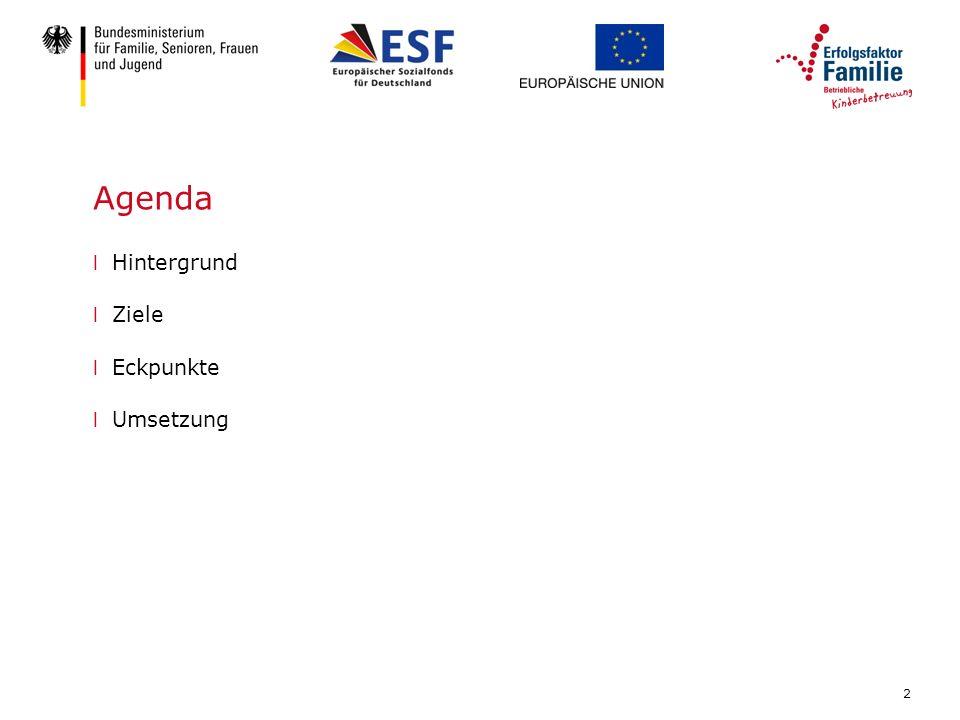 2 Agenda l Hintergrund l Ziele l Eckpunkte l Umsetzung