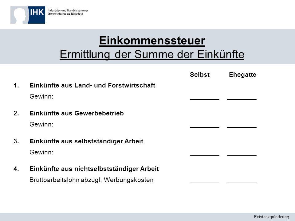 Existenzgründertag Einkommenssteuer Ermittlung der Summe der Einkünfte SelbstEhegatte 1.Einkünfte aus Land- und Forstwirtschaft Gewinn:________ 2.Eink