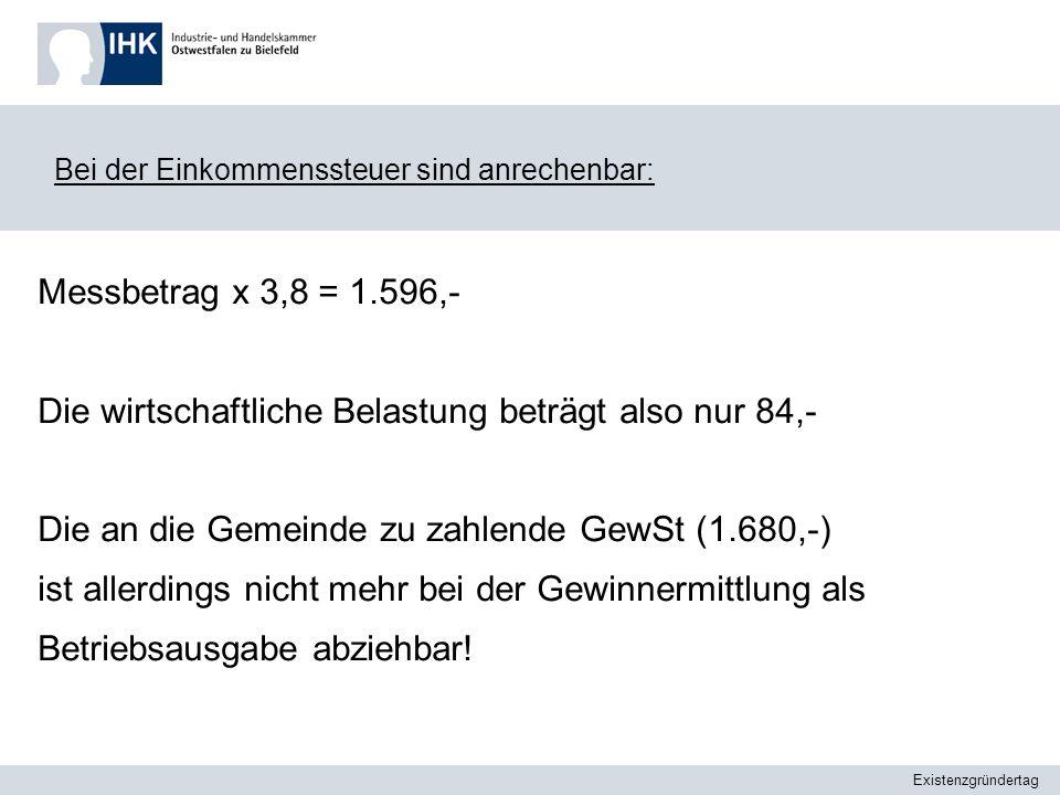 Existenzgründertag Umsatzsteuer System : 100 x 19% Umsatz x Steuersatz =./.