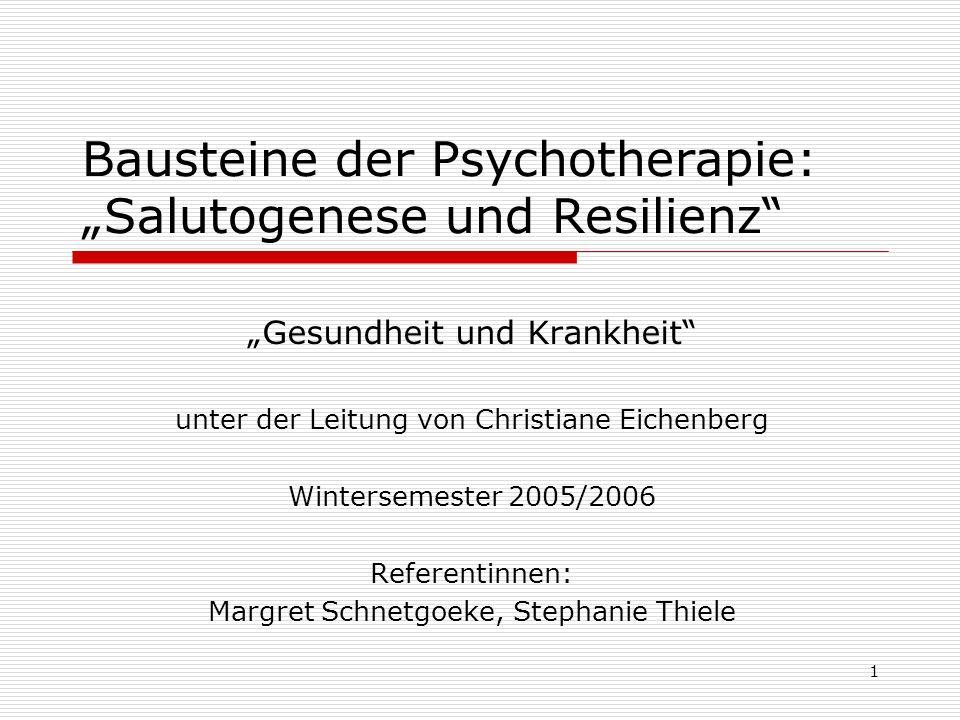 2 Gliederung I.Begriffsklärung, Konzepte, Stand der Forschung Resilienz Salutogenese II.Anwendung in der Praxis Medizin (Paradigmenwechsel) Psychotherapie Helfende s