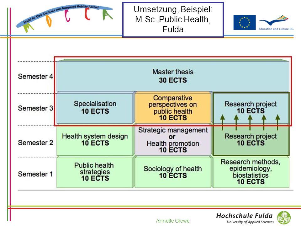 Annette Grewe Umsetzung, Beispiel: M.Sc. Public Health, Fulda