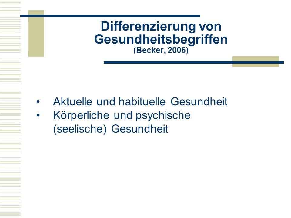 Differenzierung von Gesundheitsbegriffen (Becker, 2006) Aktuelle und habituelle Gesundheit Körperliche und psychische (seelische) Gesundheit