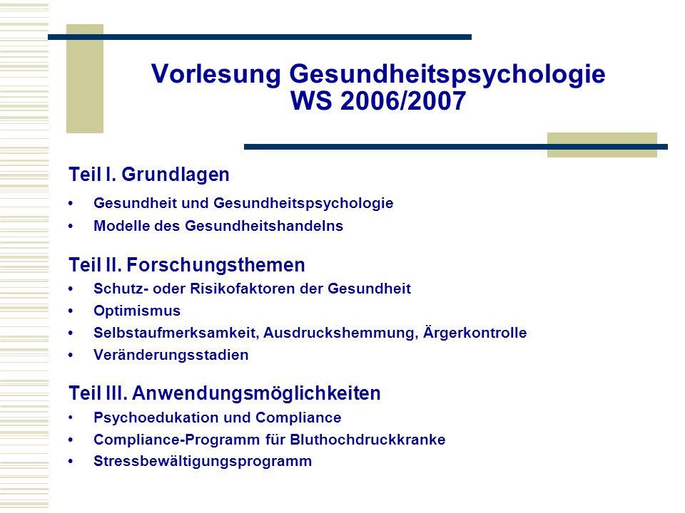 Vorlesung Gesundheitspsychologie WS 2006/2007 Teil I. Grundlagen Gesundheit und Gesundheitspsychologie Modelle des Gesundheitshandelns Teil II. Forsch