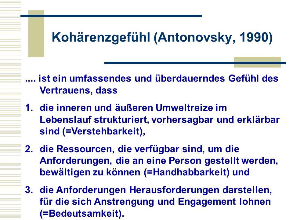 Kohärenzgefühl (Antonovsky, 1990).... ist ein umfassendes und überdauerndes Gefühl des Vertrauens, dass 1.die inneren und äußeren Umweltreize im Leben