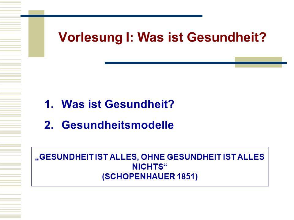 Vorlesung I: Was ist Gesundheit? 1.Was ist Gesundheit? 2.Gesundheitsmodelle GESUNDHEIT IST ALLES, OHNE GESUNDHEIT IST ALLES NICHTS (SCHOPENHAUER 1851)