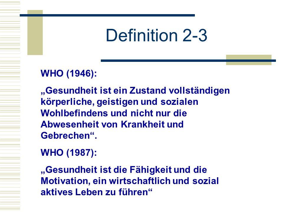 WHO (1946): Gesundheit ist ein Zustand vollständigen körperliche, geistigen und sozialen Wohlbefindens und nicht nur die Abwesenheit von Krankheit und Gebrechen.