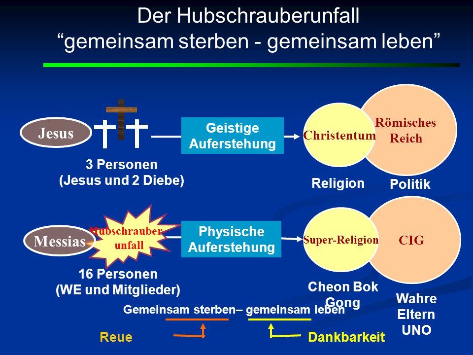Römisches Reich Jesus CIG Super-Religion Christentum Der Hubschrauberunfall gemeinsam sterben - gemeinsam leben Religion Politik Hubschrauber- unfall