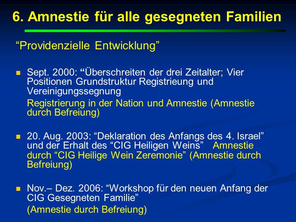 6. Amnestie für alle gesegneten Familien Providenzielle Entwicklung Sept. 2000: Überschreiten der drei Zeitalter; Vier Positionen Grundstruktur Regist