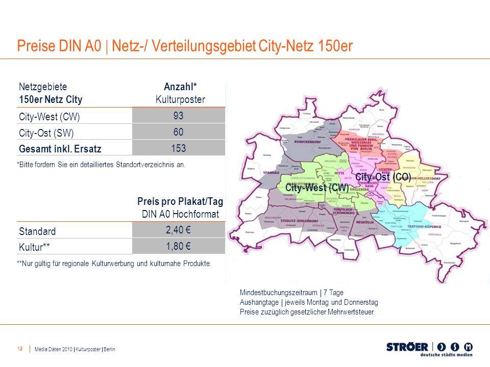 12 City-West (CW) City-Ost (CO) 93 60 153 Anzahl* Kulturposter Netzgebiete 150er Netz City City-West (CW) City-Ost (SW) 2,40 1,80 Preis pro Plakat/Tag