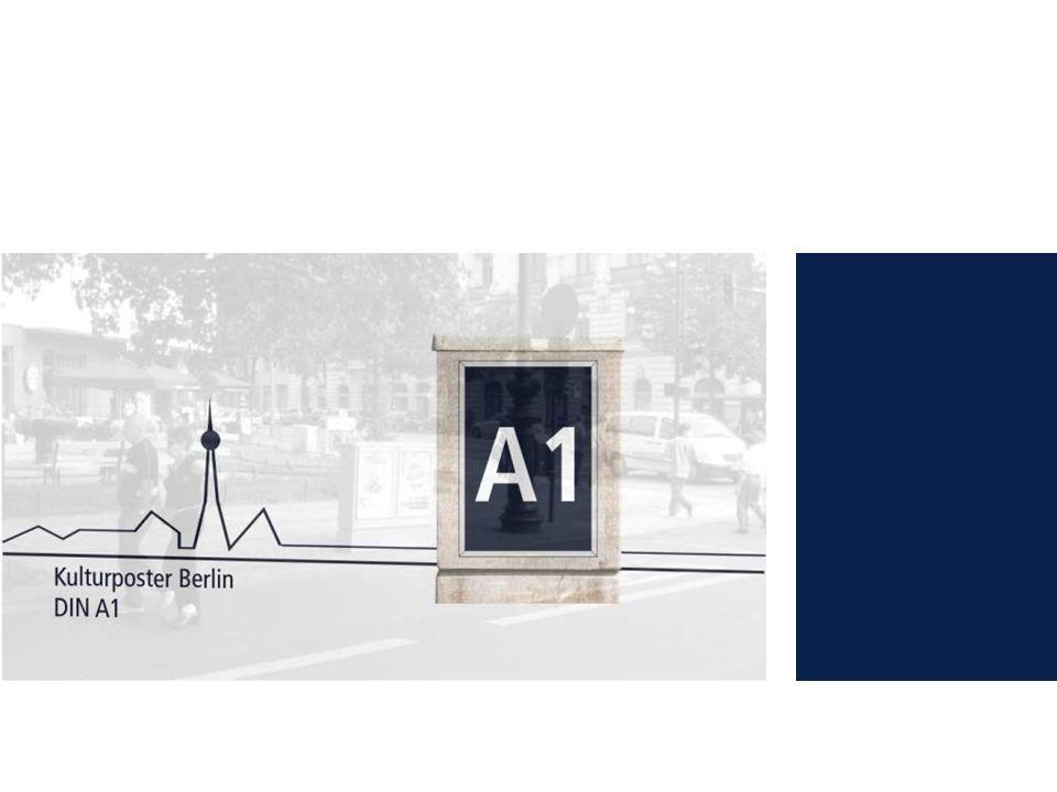 4 Allgemeine Informationen DIN A1 Media Daten 2010 Kulturposter Berlin -DIN A1 Plakate in Alu-Wechselrahmen an frequenzstarken Kreuzungen und kontaktintensiven Plätzen -Minimierung von Streuverlusten durch kombinierbare, lokale Netzgebiete -zeitoptimale Buchungsmöglichkeiten durch zwei Aushangtage pro Woche (Montag und Donnerstag) -Buchung von Individualnetzen möglich Jeder kennt sie, jeder sieht sie: Kulturposter.