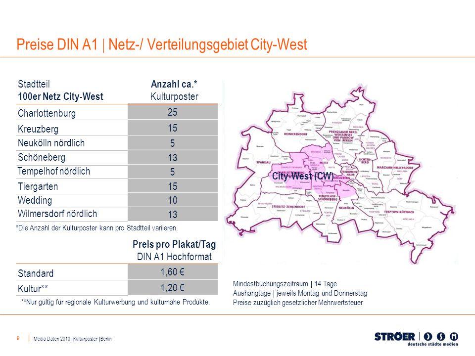 6 25 15 5 13 5 15 10 13 Anzahl ca.* Kulturposter Stadtteil 100er Netz City-West Charlottenburg Kreuzberg Neukölln nördlich Schöneberg Tempelhof nördli