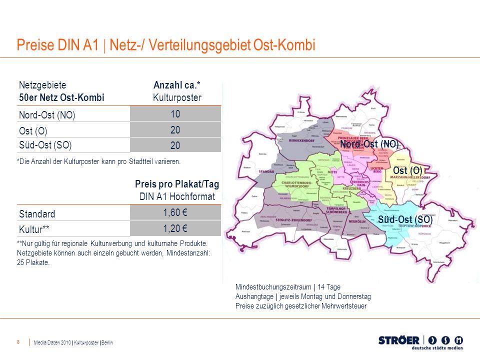 8 Nord-Ost (NO) Ost (O) Süd-Ost (SO) 10 20 Anzahl ca.* Kulturposter Netzgebiete 50er Netz Ost-Kombi Nord-Ost (NO) Ost (O) Süd-Ost (SO) 1,60 1,20 Preis