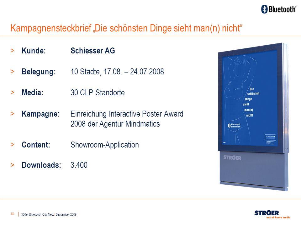 18 Kampagnensteckbrief Die schönsten Dinge sieht man(n) nicht > Kunde: Schiesser AG > Belegung: 10 Städte, 17.08.
