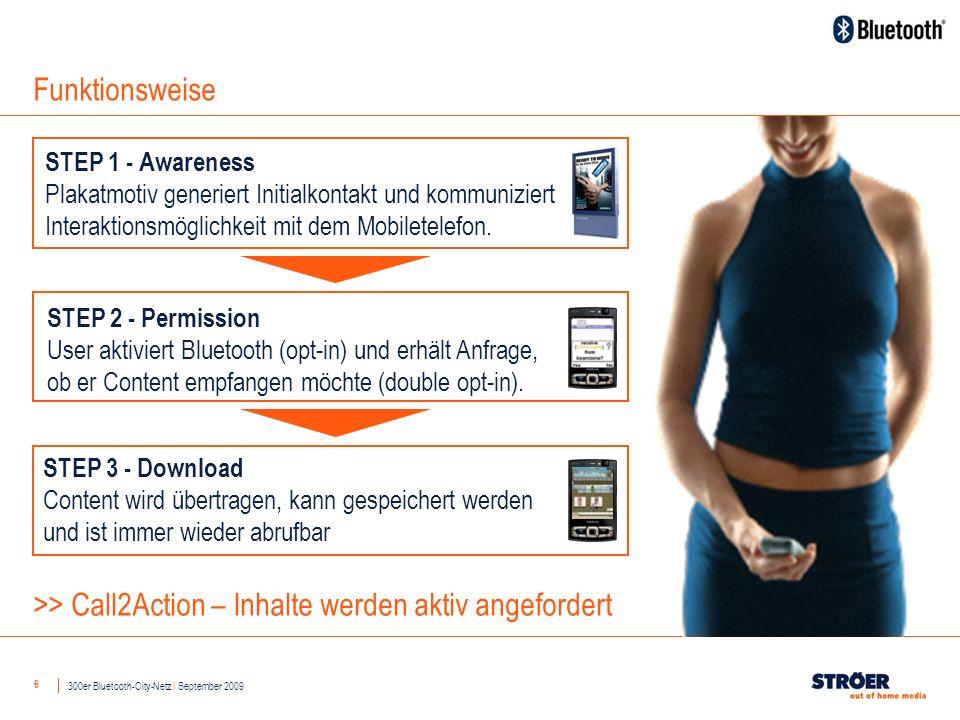 6 Funktionsweise STEP 1 - Awareness Plakatmotiv generiert Initialkontakt und kommuniziert Interaktionsmöglichkeit mit dem Mobiletelefon.