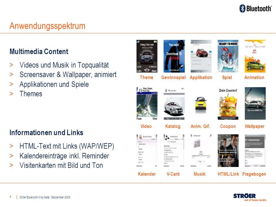 9 Anwendungsspektrum Multimedia Content > Videos und Musik in Topqualität > Screensaver & Wallpaper, animiert > Applikationen und Spiele > Themes Informationen und Links > HTML-Text mit Links (WAP/WEP) > Kalendereinträge inkl.