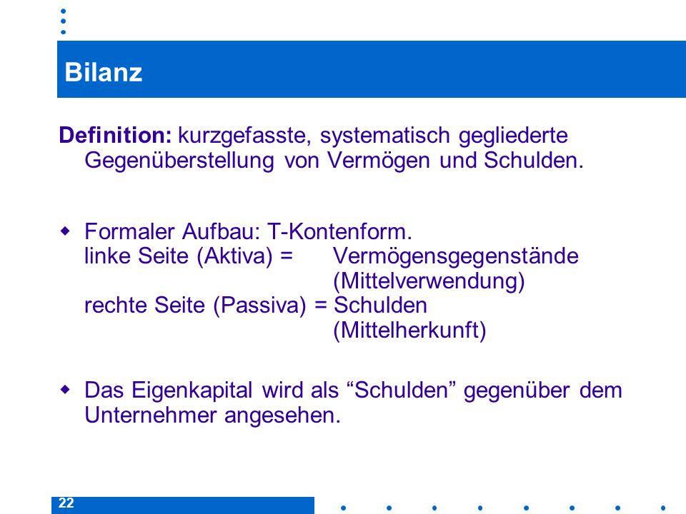 22 Bilanz Definition: kurzgefasste, systematisch gegliederte Gegenüberstellung von Vermögen und Schulden. Formaler Aufbau: T-Kontenform. linke Seite (