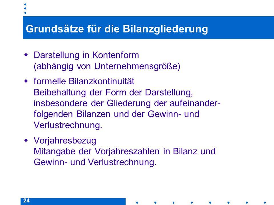 24 Grundsätze für die Bilanzgliederung Darstellung in Kontenform (abhängig von Unternehmensgröße) formelle Bilanzkontinuität Beibehaltung der Form der