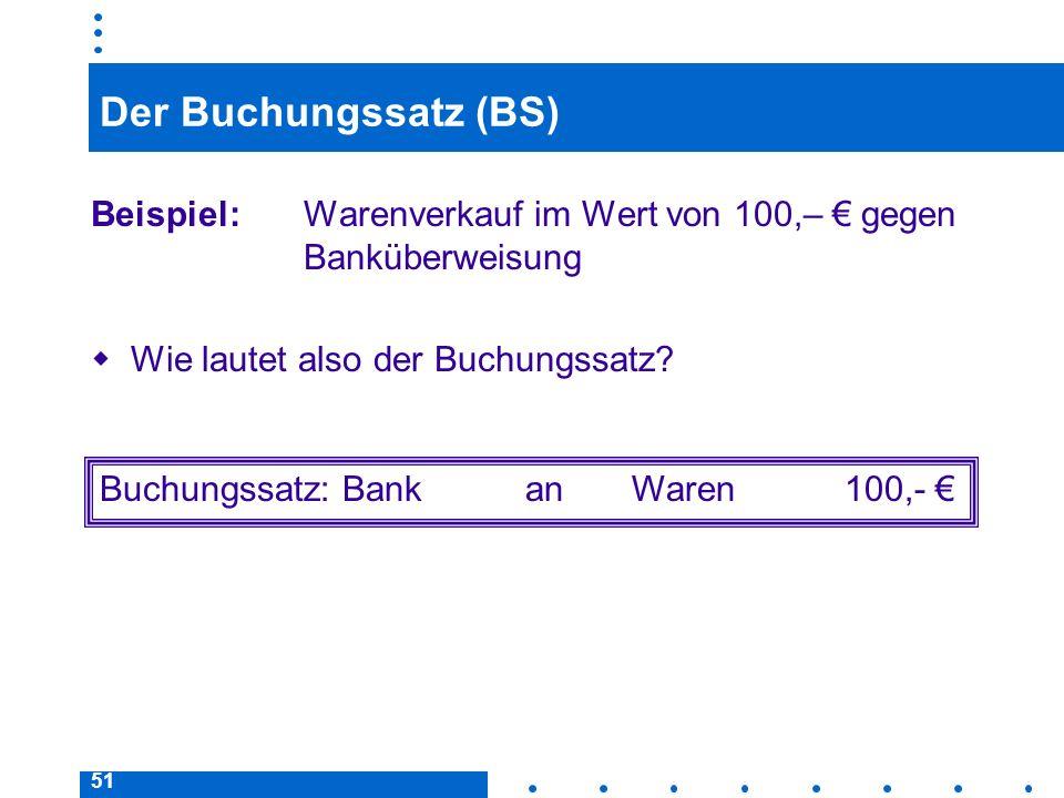 51 Der Buchungssatz (BS) Beispiel: Warenverkauf im Wert von 100,– gegen Banküberweisung Wie lautet also der Buchungssatz? Buchungssatz: BankanWaren100