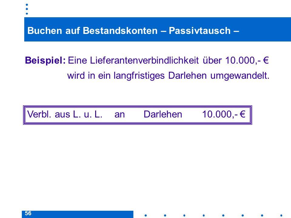 56 Buchen auf Bestandskonten – Passivtausch – Beispiel: Eine Lieferantenverbindlichkeit über 10.000,- wird in ein langfristiges Darlehen umgewandelt.
