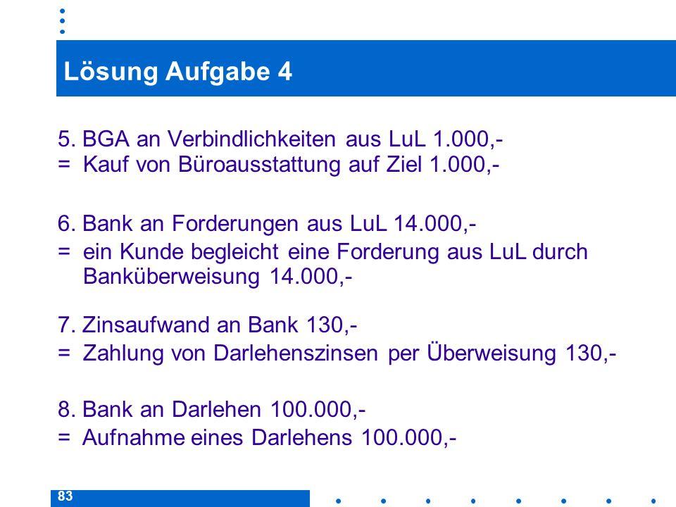 83 Lösung Aufgabe 4 5. BGA an Verbindlichkeiten aus LuL 1.000,- = Kauf von Büroausstattung auf Ziel 1.000,- 6. Bank an Forderungen aus LuL 14.000,- =