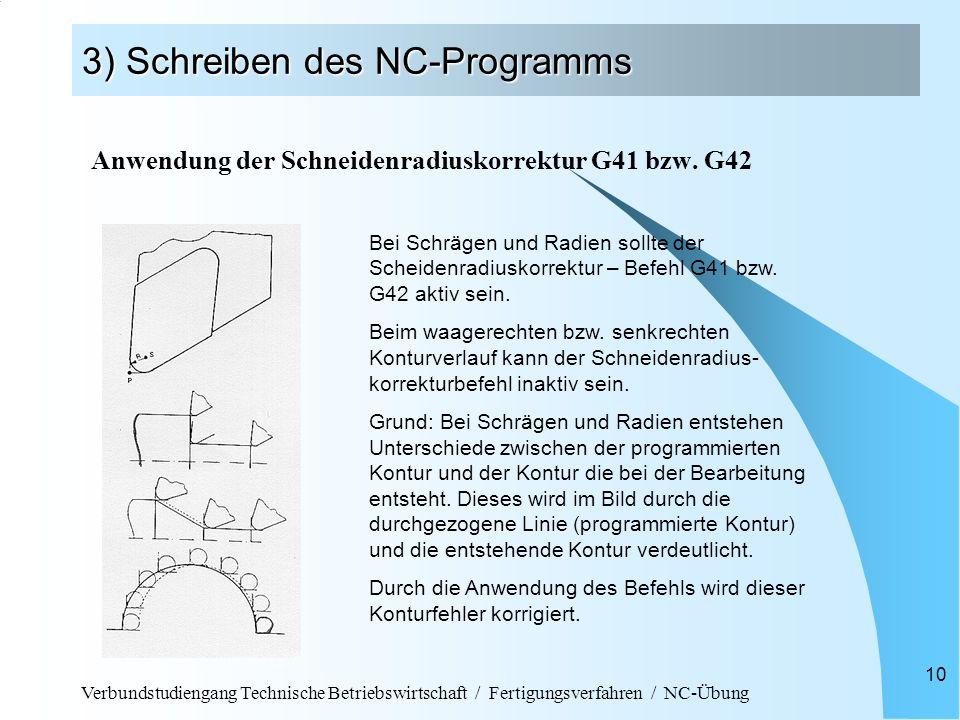 Verbundstudiengang Technische Betriebswirtschaft / Fertigungsverfahren / NC-Übung 10 3) Schreiben des NC-Programms Anwendung der Schneidenradiuskorrek