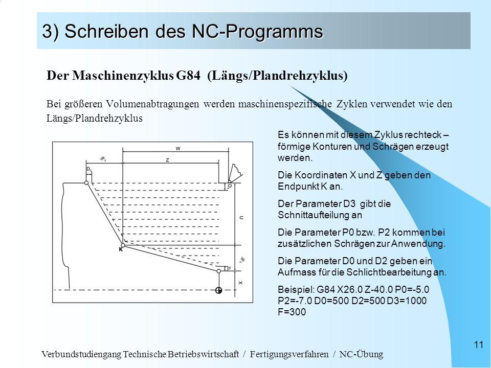 Verbundstudiengang Technische Betriebswirtschaft / Fertigungsverfahren / NC-Übung 11 3) Schreiben des NC-Programms Der Maschinenzyklus G84 (Längs/Plan