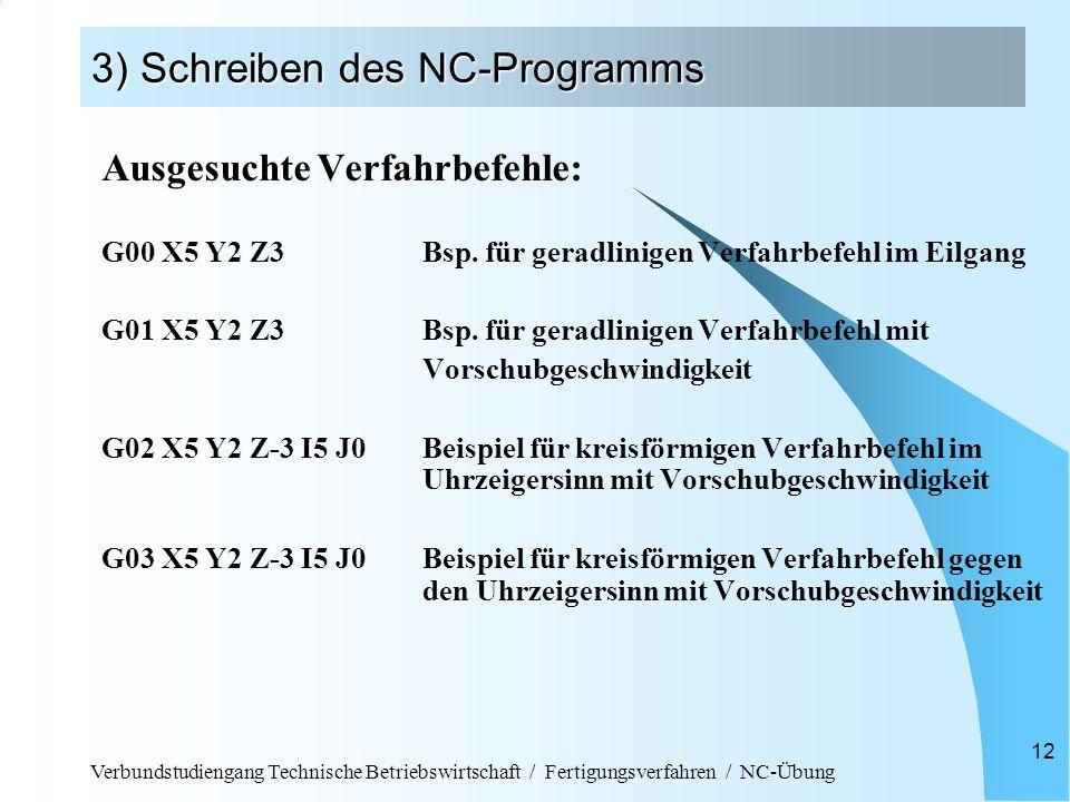 Verbundstudiengang Technische Betriebswirtschaft / Fertigungsverfahren / NC-Übung 12 3) Schreiben des NC-Programms Ausgesuchte Verfahrbefehle: G00 X5