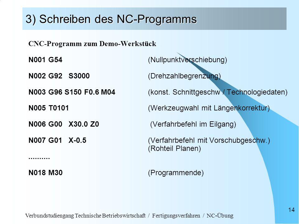 Verbundstudiengang Technische Betriebswirtschaft / Fertigungsverfahren / NC-Übung 14 3) Schreiben des NC-Programms CNC-Programm zum Demo-Werkstück N00