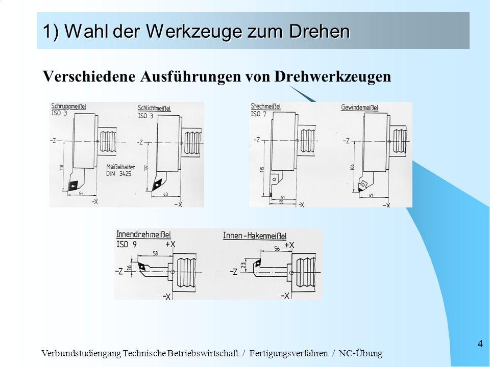 Verbundstudiengang Technische Betriebswirtschaft / Fertigungsverfahren / NC-Übung 15 3) Schreiben des NC-Programms Hinweise zur Programmierung: Werkstücknullpunkt liegt in der Regel in der Mitte der Rohteilstirnfläche X-Koordinate wird bei der Angabe der Endposition im Durchmesser angegeben