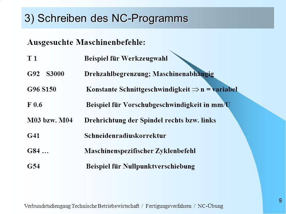 Verbundstudiengang Technische Betriebswirtschaft / Fertigungsverfahren / NC-Übung 9 3) Schreiben des NC-Programms Ausgesuchte Maschinenbefehle: T 1Bei