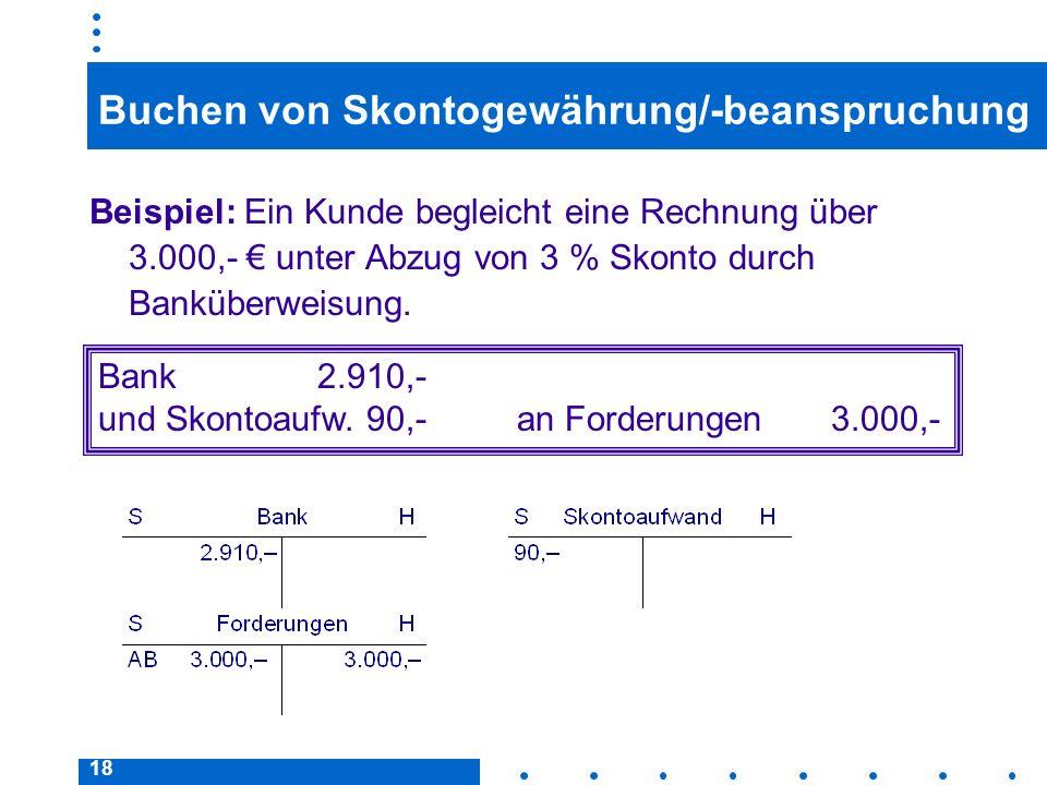 18 Buchen von Skontogewährung/-beanspruchung Beispiel: Ein Kunde begleicht eine Rechnung über 3.000,- unter Abzug von 3 % Skonto durch Banküberweisung.