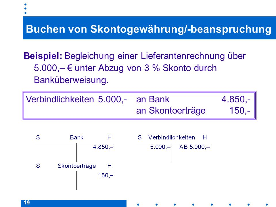 19 Buchen von Skontogewährung/-beanspruchung Beispiel: Begleichung einer Lieferantenrechnung über 5.000,– unter Abzug von 3 % Skonto durch Banküberweisung.