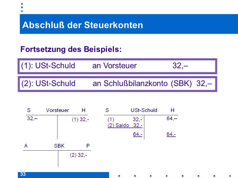 33 Abschluß der Steuerkonten Fortsetzung des Beispiels: (2): USt-Schuld an Schlußbilanzkonto (SBK) 32,– (1): USt-Schuld an Vorsteuer 32,– 64,- (1) 32,