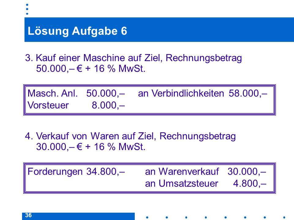 36 Lösung Aufgabe 6 3. Kauf einer Maschine auf Ziel, Rechnungsbetrag 50.000,– + 16 % MwSt. Masch. Anl.50.000,– an Verbindlichkeiten 58.000,– Vorsteuer