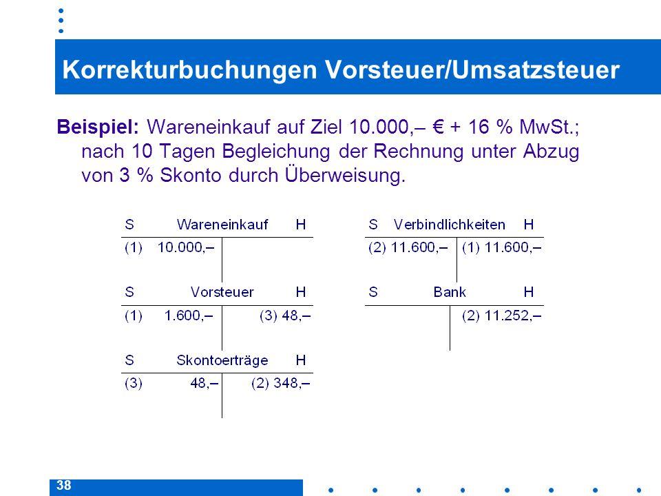 38 Korrekturbuchungen Vorsteuer/Umsatzsteuer Beispiel: Wareneinkauf auf Ziel 10.000,– + 16 % MwSt.; nach 10 Tagen Begleichung der Rechnung unter Abzug