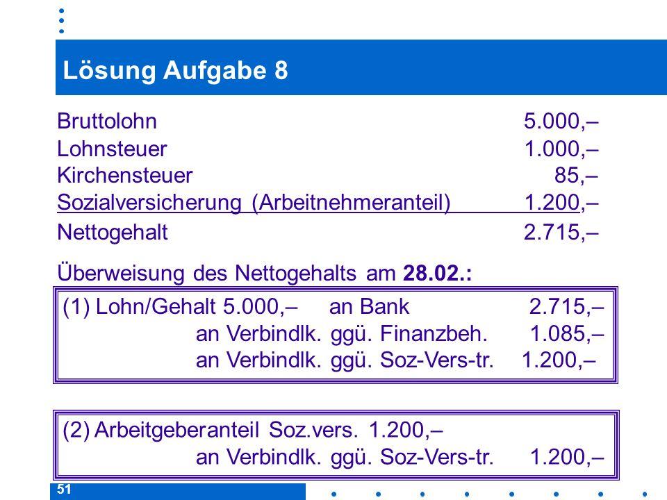 51 Lösung Aufgabe 8 Bruttolohn 5.000,– Lohnsteuer 1.000,– Kirchensteuer 85,– (1) Lohn/Gehalt 5.000,– an Bank 2.715,– an Verbindlk.