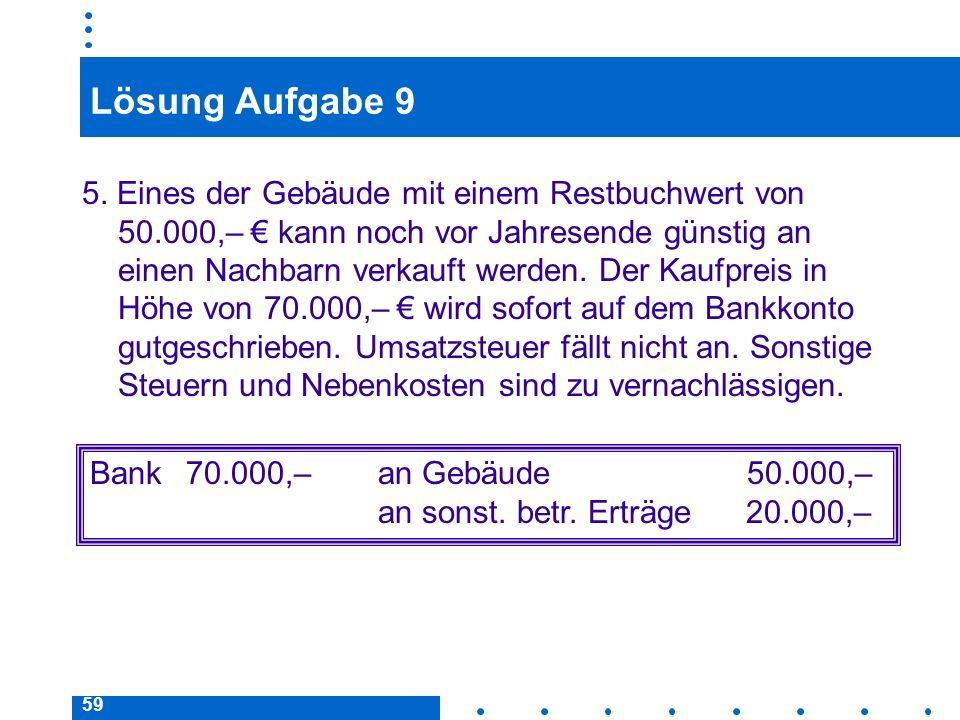 59 Lösung Aufgabe 9 5. Eines der Gebäude mit einem Restbuchwert von 50.000,– kann noch vor Jahresende günstig an einen Nachbarn verkauft werden. Der K