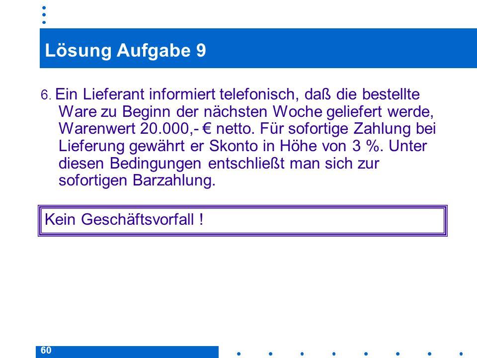 60 Lösung Aufgabe 9 6. Ein Lieferant informiert telefonisch, daß die bestellte Ware zu Beginn der nächsten Woche geliefert werde, Warenwert 20.000,- n