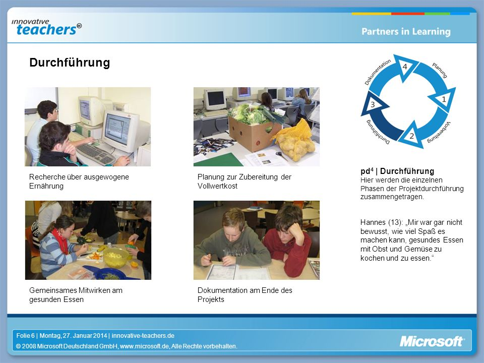 © 2008 Microsoft Deutschland GmbH, www.microsoft.de, Alle Rechte vorbehalten. Folie 6 | Montag, 27. Januar 2014 | innovative-teachers.de pd 4 | Durchf