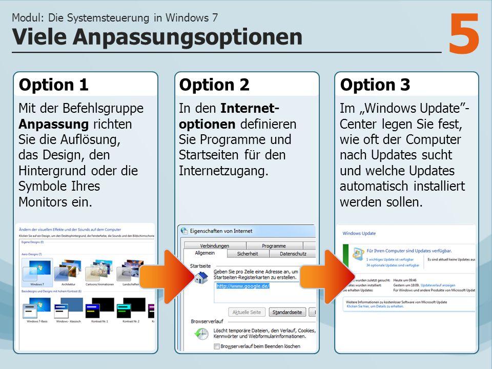 5 Option 1 Mit der Befehlsgruppe Anpassung richten Sie die Auflösung, das Design, den Hintergrund oder die Symbole Ihres Monitors ein.