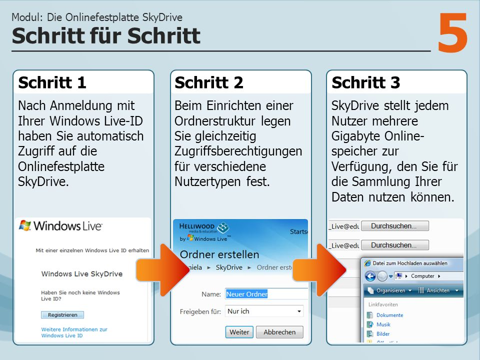 5 Schritt 1 Nach Anmeldung mit Ihrer Windows Live-ID haben Sie automatisch Zugriff auf die Onlinefestplatte SkyDrive.