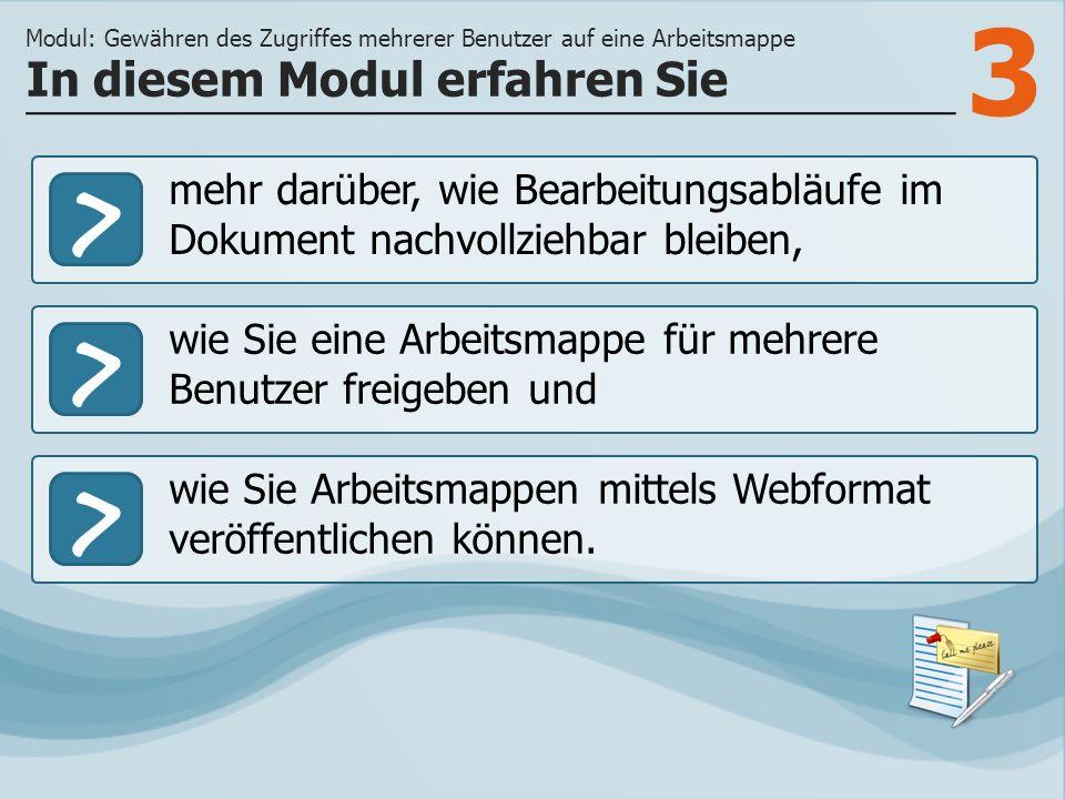 3 >> wie Sie eine Arbeitsmappe für mehrere Benutzer freigeben und wie Sie Arbeitsmappen mittels Webformat veröffentlichen können.