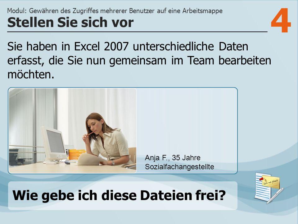 4 Sie haben in Excel 2007 unterschiedliche Daten erfasst, die Sie nun gemeinsam im Team bearbeiten möchten. Stellen Sie sich vor Modul: Gewähren des Z