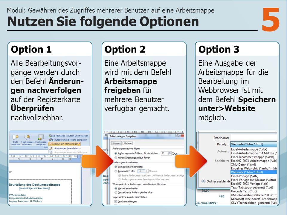 5 Option 1 Alle Bearbeitungsvor- gänge werden durch den Befehl Änderun- gen nachverfolgen auf der Registerkarte Überprüfen nachvollziehbar. Option 2Op