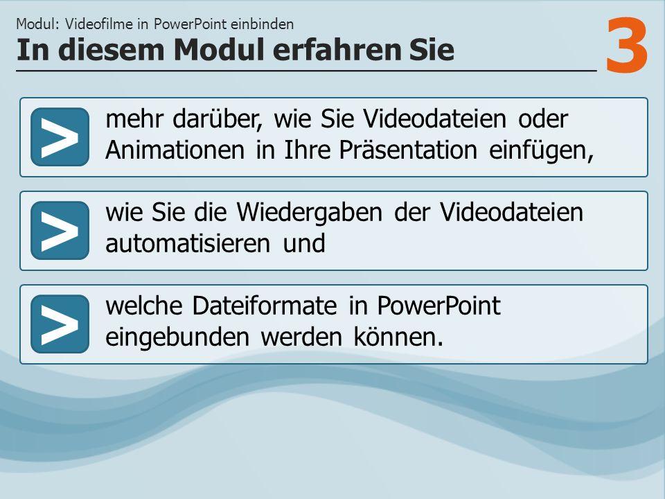 3 >> wie Sie die Wiedergaben der Videodateien automatisieren und welche Dateiformate in PowerPoint eingebunden werden können.