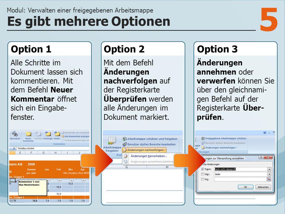 5 Option 1 Alle Schritte im Dokument lassen sich kommentieren.